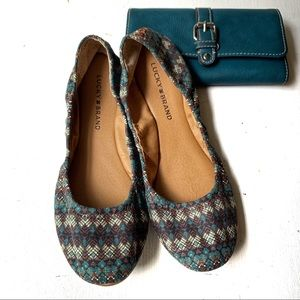 💎 Lucky Brand Teal Patterned Flats FREE WALLET